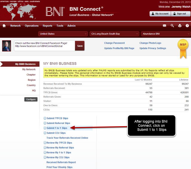 Log Into BNI Connect and Choose Enter One to Ones