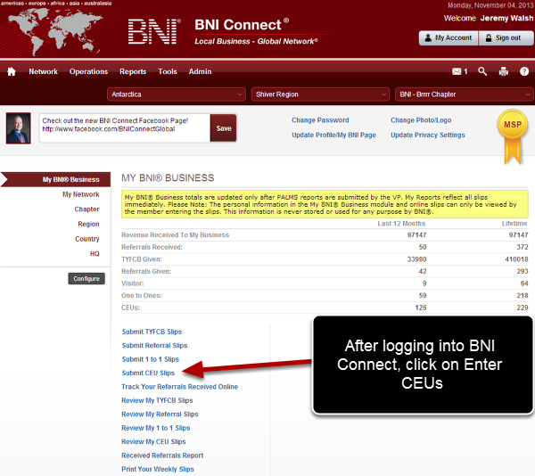 Log Into BNI Connect and Choose CEUs