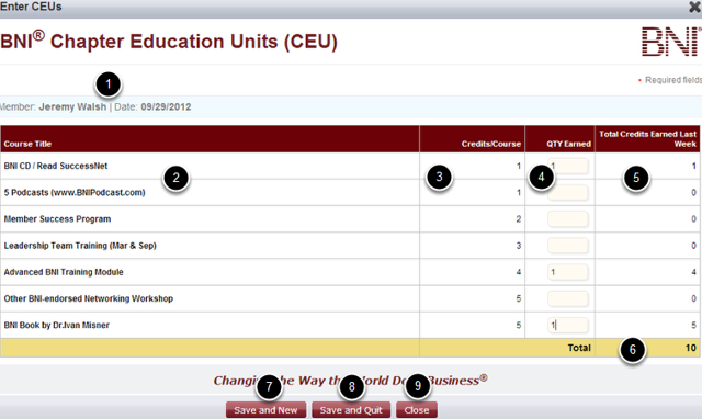 Complete the CEU Slip Entry