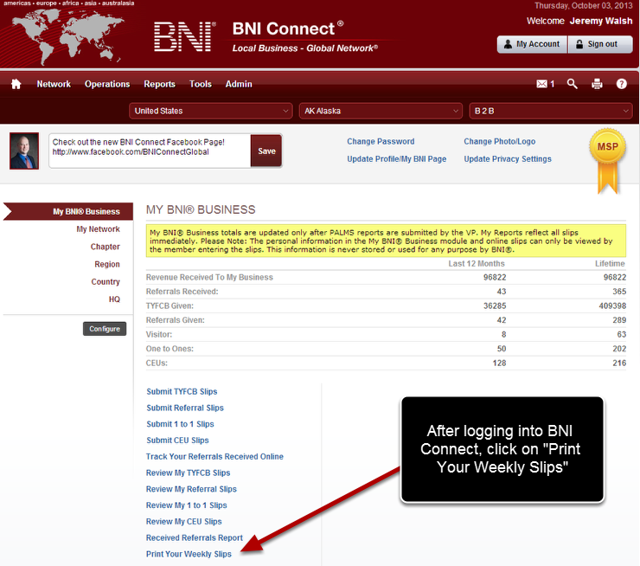 Log Into BNI Connect and Choose Print Your Weekly Slips
