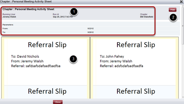 Personal Meeting Activity Report - Slip View