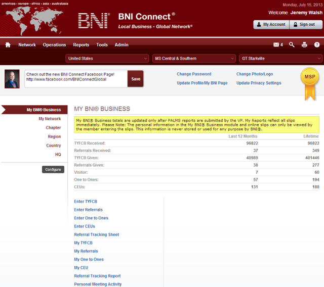 After logging into BNI Connect for the first time, you will notice a refreshing new landing page!