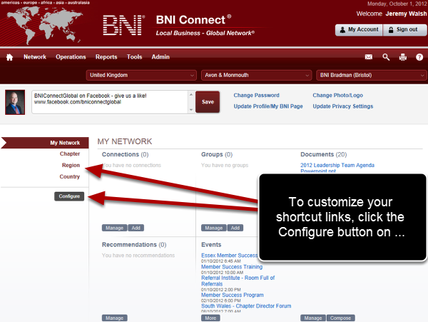 Log Into BNI Connect and Click the Configure Button