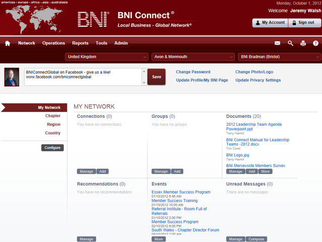 After logging into BNI Connect you will see the following landing page: