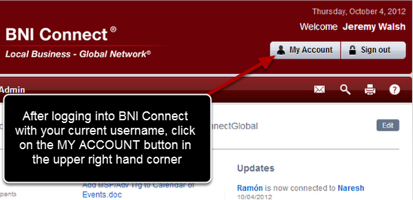 Log Into BNI Connect With Your CURRENT Username
