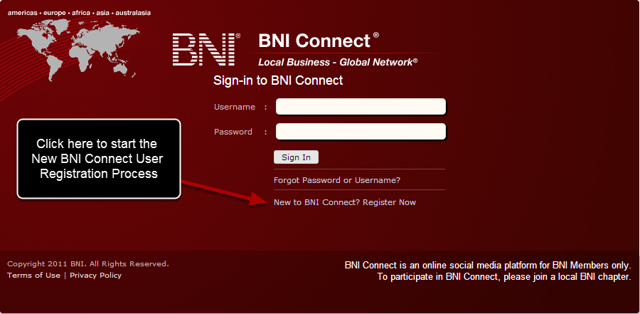 Step 1 - Click the New to BNI Connect link on the member sign in page