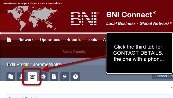 2) Click on the CONTACT DETAILS TAB