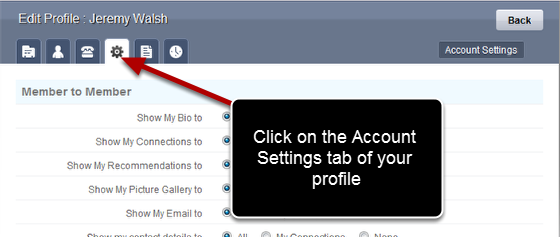 Go to the Account Settings Tab