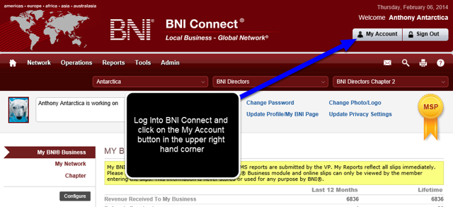 "Log Into BNI Connect and Click ""My Account"""