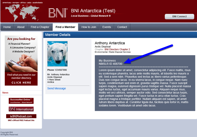 Your ID Will Also Appear On Your Public BNI Connect Profile