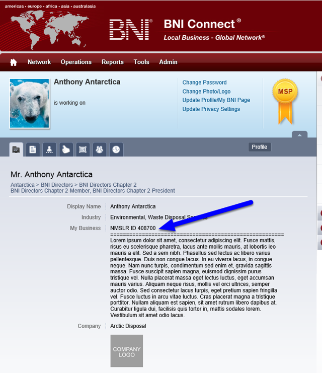 Your ID Will Appear On Your BNI Connect Members Only Profile