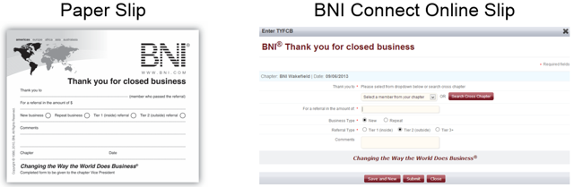 Thank You For Closed Business (TYFCB) Slip