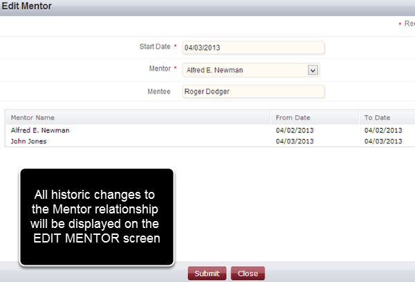 Return to the EDIT MENTOR Screen to Review Historic Changes