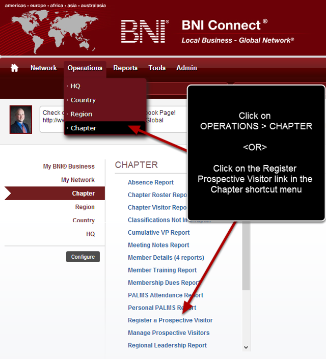 Navigate to the Chapter Operations Menu