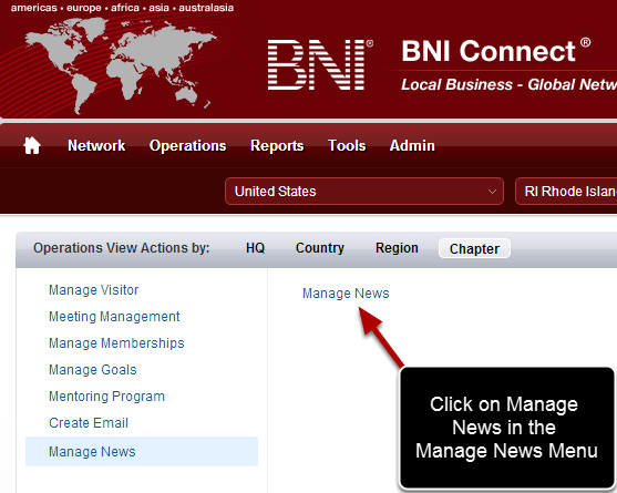 Click on the Manage News Link
