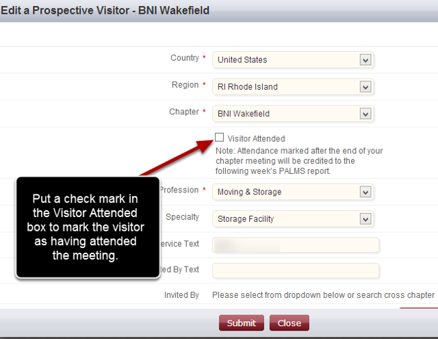 Edit The Prospective Visitor to Mark Attendance