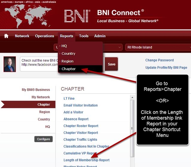 Navigate to the Chapter Reports Menu
