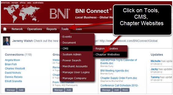Navigate to the Chapter CMS Editor