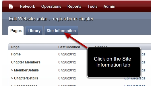 Navigate to the Site Information Tab