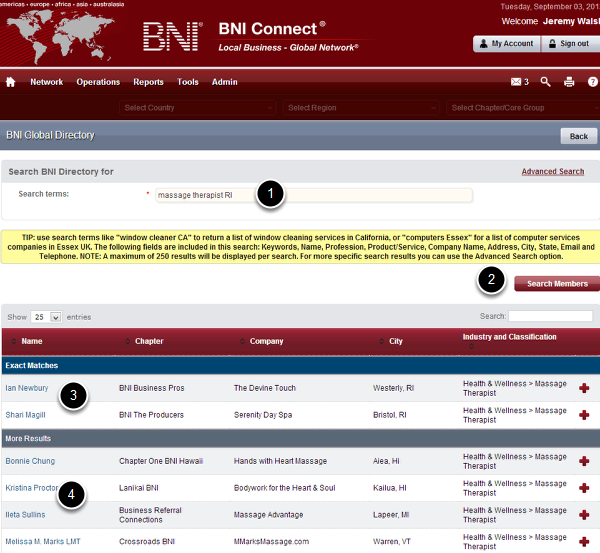 BNI Global Directory - Basic Search