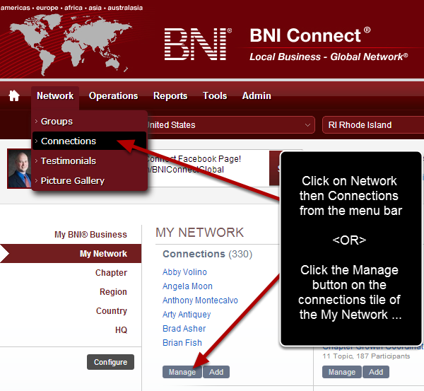 Navigate to the Connections Screen in BNI Connect