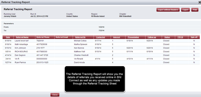 The Referral Tracking Report