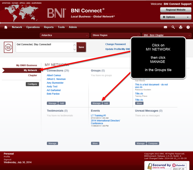 Access the Groups Area of BNI Connect