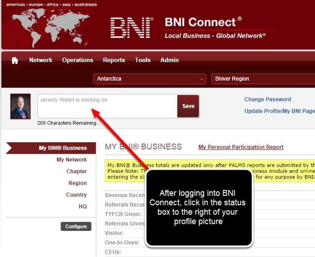 After Logging Into BNI Connect, Click in the STATUS Area