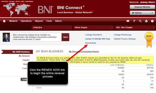 Option 3: Click the RENEW NOW Link on the My BNI Business Page