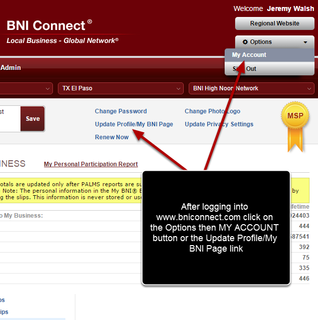 Log Into BNI Connect and Go To Your Account Settings
