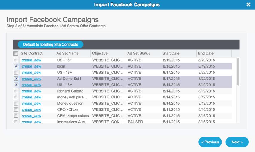 Facebook Campaign Import