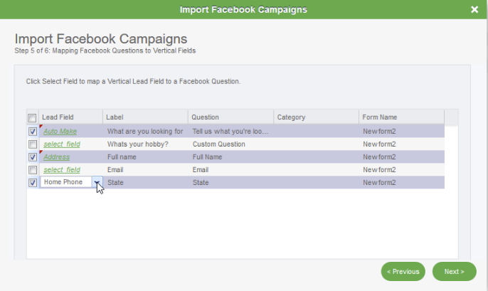 Facebook Lead Ads Campaign Importer: Step 5