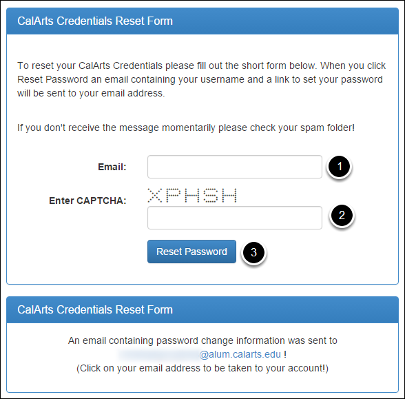 Enter your CalArts email address and the CAPTCHA