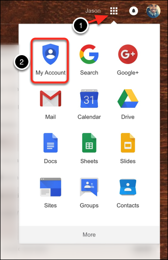 Select: Google Apps > My Account