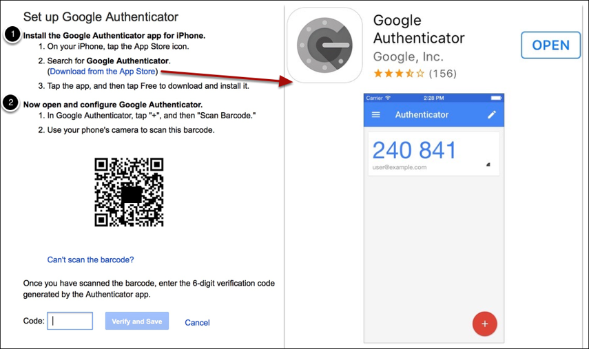 Install Google Authenticator (if you don't already have it) from the App Store, and set up Authenticator