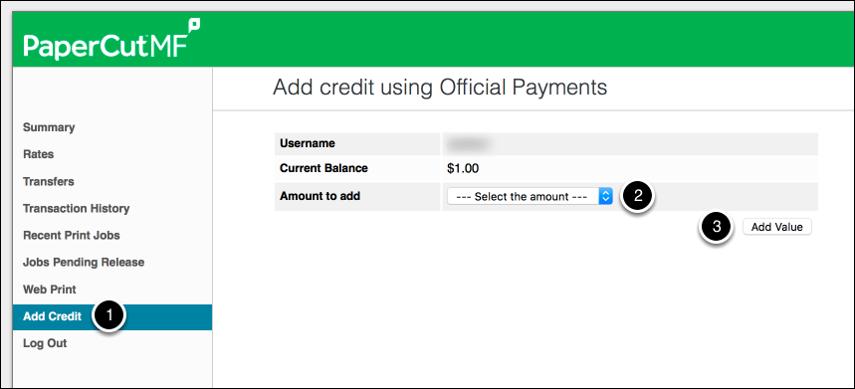 Adding Credit