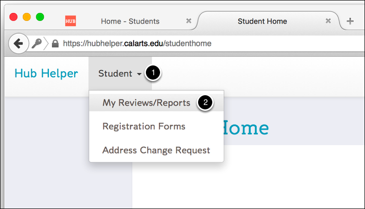 Click on the Student Dropdown Menu
