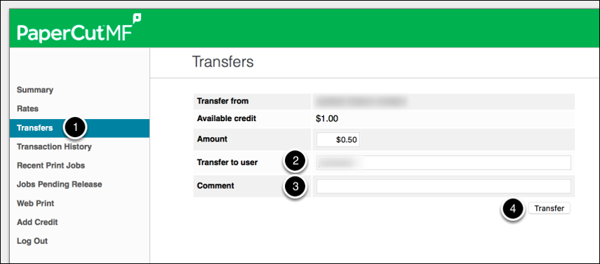 Click on Transfers