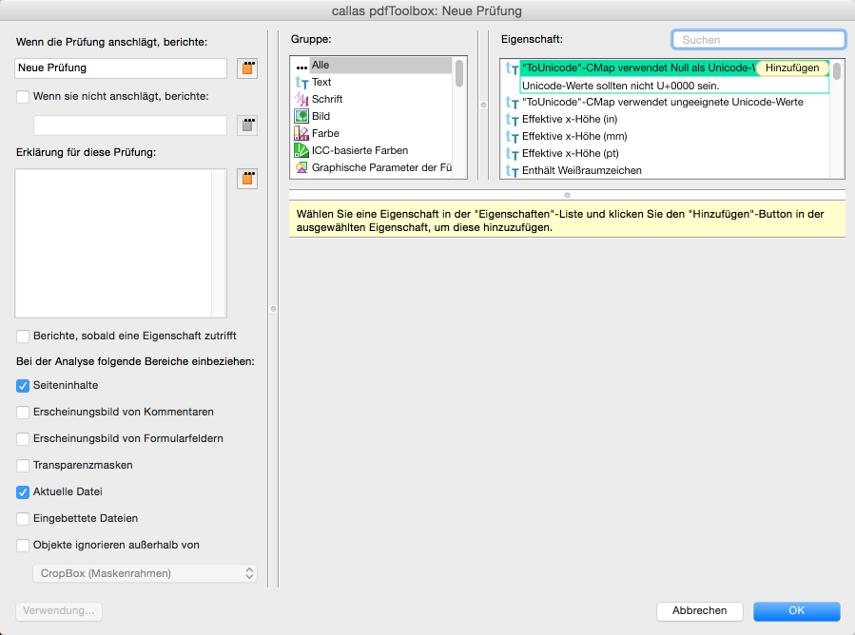 """""""Anwenden auf:""""-Filter einrichten –Neue Prüfung konfigurieren"""