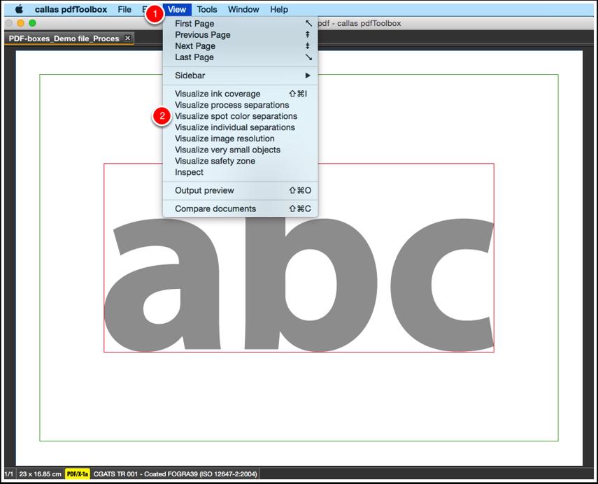 Open Visualize spot color separations panel