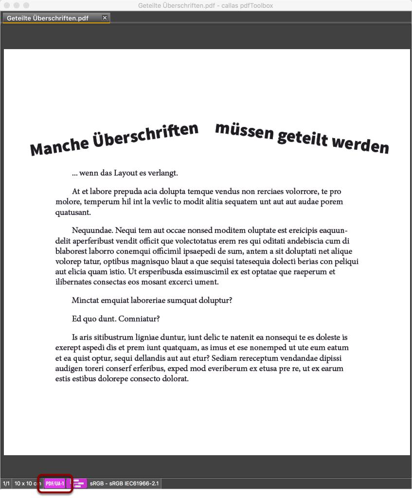 Ein PDF in dem im Layout eine Überschrift aus zwei Bestandteilen besteht