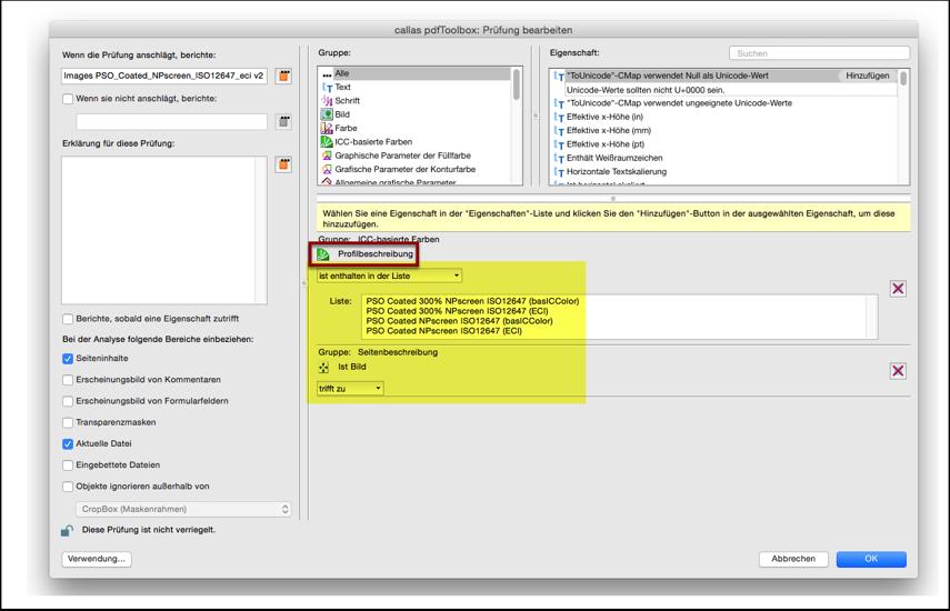 """Editieren des importierten Profiles: Benutzerdefinierte Korrektur """"Farben konvertieren"""" Objekteprüfung"""