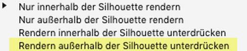 """Erörterung zu den """"Zweck der Silhouette""""-Parametern: Rendern außerhalb der Silhouette unterdrücken"""