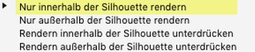 """Erörterung zu den """"Zweck der Silhouette""""-Parametern: Nur innerhalb der Silhouette rendern"""
