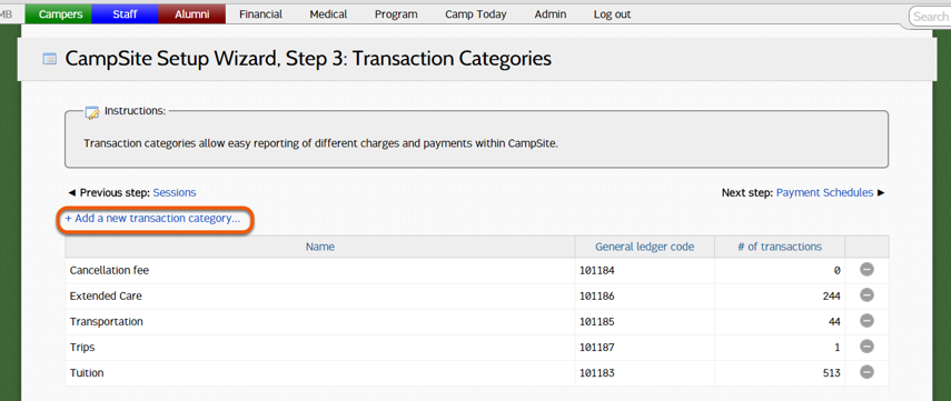 Adding a new transaction category
