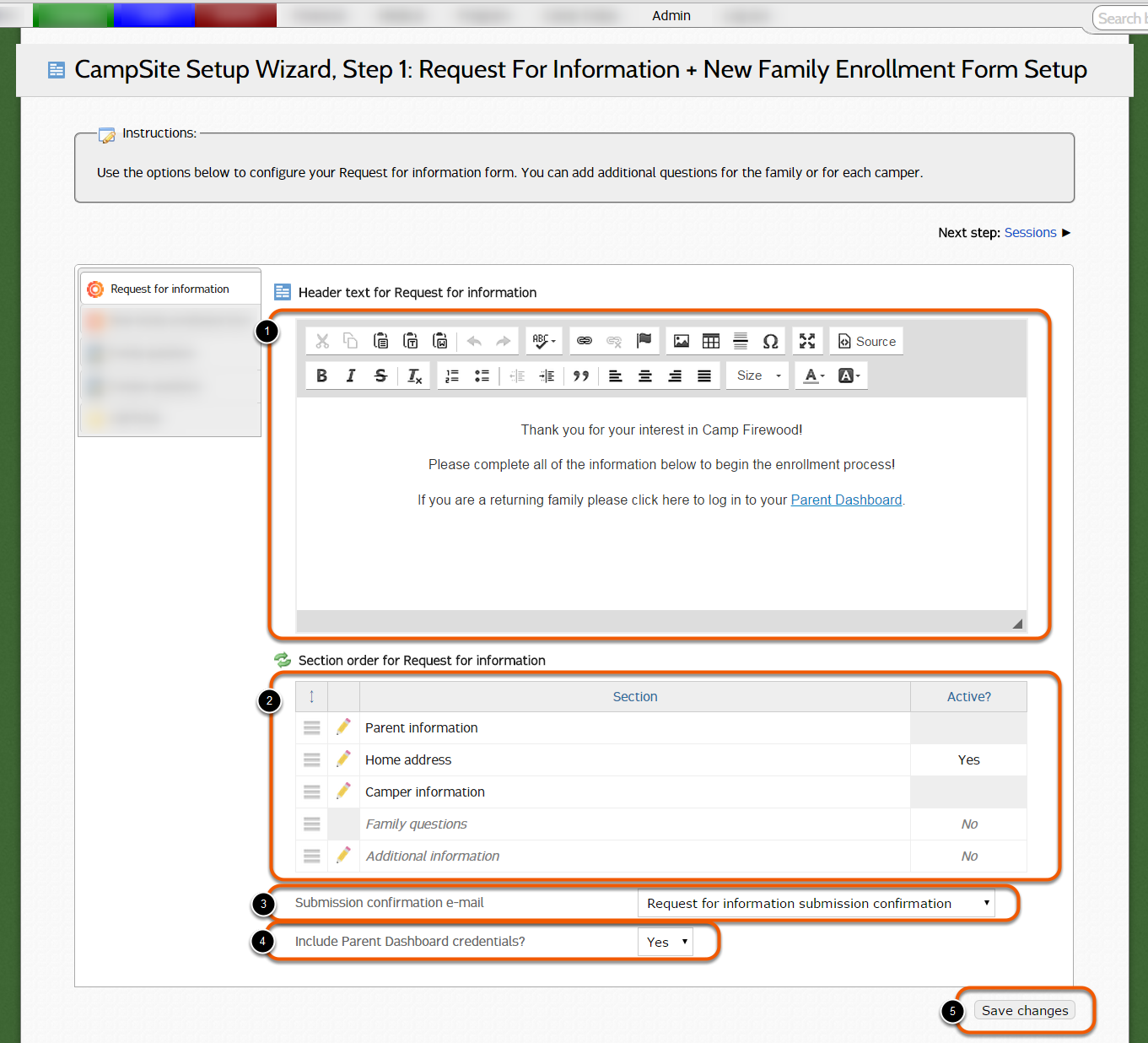 Step 1: Request for information + New family enrollment form setup ...