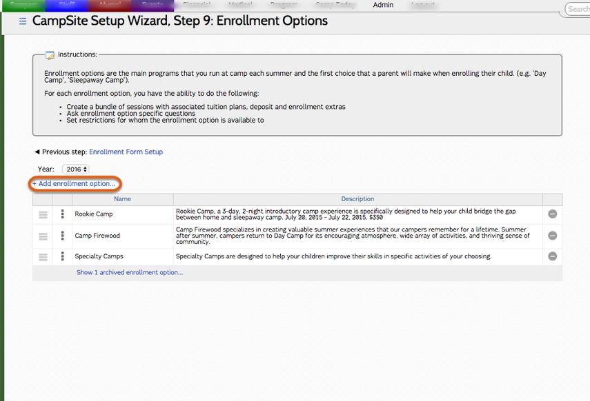 Adding a New Enrollment Option