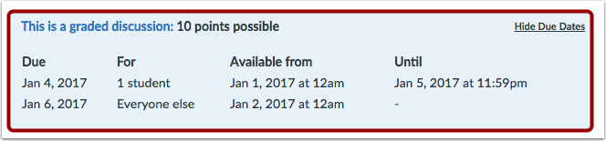 View Assigned Dates