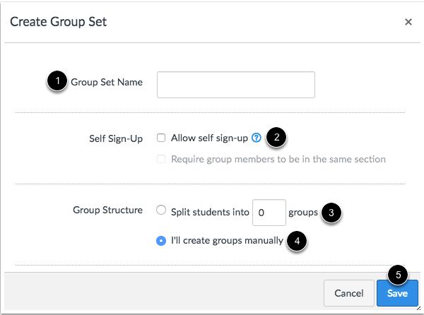 Crear un conjunto de grupos