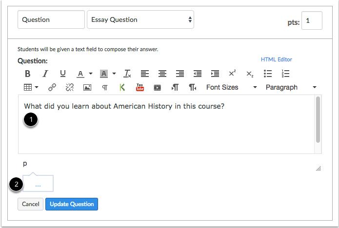 Editar detalles de la pregunta tipo ensayo